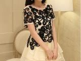 欧洲站2014刺绣欧根纱连衣裙夏蕾丝短袖两件套蓬蓬裙