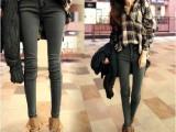 2014韩版春装新品潮女黑褐色修身小脚牛仔裤弹力牛仔铅笔裤
