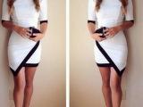 ebay速卖通外贸爆款 欧美性感黑白撞色拼接不规则包臀中袖连衣裙