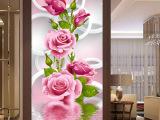 蒙娜丽莎印花十字绣最新款客厅玄关竖版玫瑰花开富贵卧室花草风景