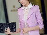 Q3-6606 女春装职业中长款韩版修身短外套显瘦休闲大码小西装