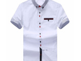 印派韩版男式衬衫夏季透气男装短袖衬衣厂家批发免费一件代发