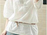 014纯棉蕾丝小V领镂空白衬衣女九分袖春秋百搭衬衫
