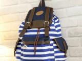 帆布条纹包双肩包 女韩版蓝白横条书包 海军风学生背包翻盖抽绳包