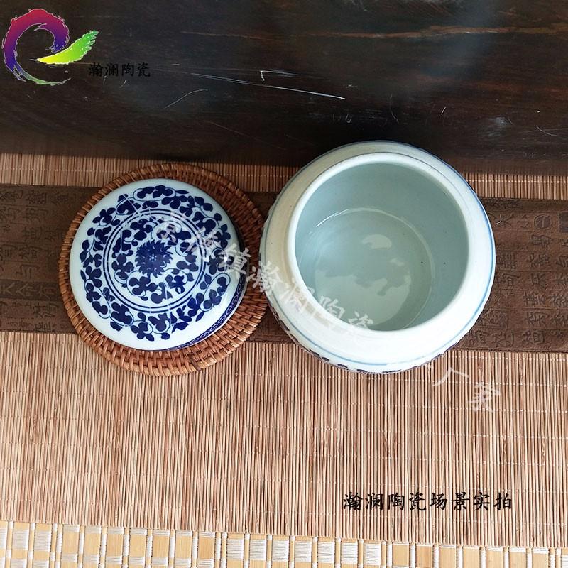 青花陶瓷大 小号中药罐 装药材 装膏方罐子密封罐储物罐