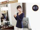2014春季款女装韩版磨毛棉修身侧开叉V领打底衫长袖T恤