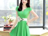 女装时尚V领褶皱裙2015新款明星气质韩版收腰显瘦修身雪纺连衣裙