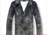2013韩版修身斜拉链牛仔衣 做旧牛仔夹克 男 秋冬牛仔外套