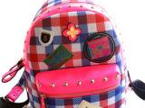 工厂直发一件代发2014秋冬新品韩国女包韩版书包英伦格子双肩背包