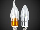 超亮3W 4W 5W LED蜡烛灯 水晶灯光源E14/ E27螺