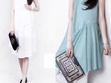 欧美女装2014夏装新款纯色背心裙显瘦无袖雪纺连衣裙夏一件代发潮
