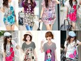 2015韩版女装夏季新款大码宽松女式冰丝裙短袖修身连衣裙地摊批发