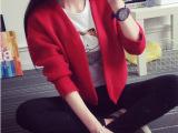 2015秋季新款韩版蝙蝠型纯色针织衫潮流时尚短裤羊毛外套女