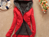 厂家批发2015春装新款加厚加绒拉链女式卫衣连帽开衫长款女士卫衣