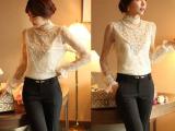 品牌女装代理加盟 2013秋冬衬衫 韩版气质蕾丝长袖蕾丝立领衬衫
