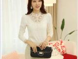 2013秋装新款 蕾丝钩花镂空高领韩版 长袖t恤 女 韩版 上衣