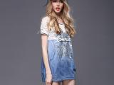 夏季2015新品欧美大码女装品牌烫钻印花连衣裙短袖裙子女一件代发