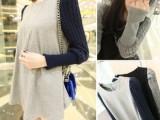 2014春季新款韩版大码女装拼接袖孕妇连衣裙  宽松长袖呢子连衣