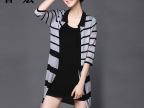 秋装新款黑白条纹中长款女式针织衫开衫宽松大码针织衫外搭外套