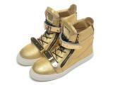 2014款外贸 GZ男款高跟鞋 金色爆裂纹双铁片平底时尚韩版潮款短靴