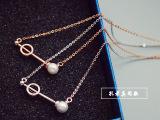 孔孝真同款珍珠项链 短款女锁骨链 短款横