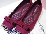 2014韩版春季爆款 蝴蝶结方头金属包头低跟鞋浅口粗跟单鞋公主鞋