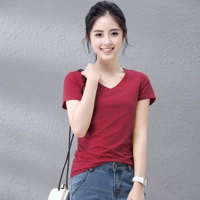 韩版修身时尚百搭女装纯色V领短袖批发