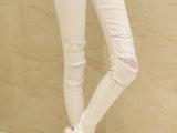 2014春新款 女装烫钻修身打底裤弹力白色紧身显瘦休闲裤