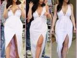 外贸女装 2014欧美新款白色V领性感不规则连衣裙