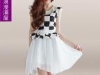 2014春夏装 新款女装韩版K4333优雅甜美小清新印花雪纺无袖连衣裙