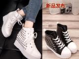 2013年新款铆钉内增高单鞋高帮系带厚底潮松糕鞋女鞋一件代发