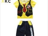 小酷车夏季新款t恤韩版童装儿童宝宝套装纯棉足球巴塞罗那两件套