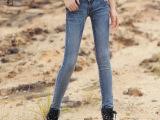 2014秋装新款牛仔裤女 创意款 水洗牛仔裤 女式牛仔裤铅笔小脚