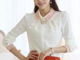 2014春装新款女装衣服 大码韩版上衣修身小衬衫 长袖雪纺衫女