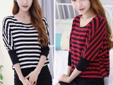 2015春季新款女装 韩版显瘦长袖t恤 条纹中长款蝙蝠打底衫