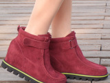 2014冬季防滑橡胶底真皮圆头内增高女棉鞋低帮保暖短靴莎诗曼女鞋