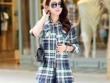 厂家批发2014秋季新款品牌韩版女装女式格子衬衫女拼接长袖衬衣女