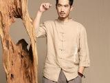 男夏装2015新款亚麻衬衫立领英伦拼色中袖男上衣男中式短袖薄款潮