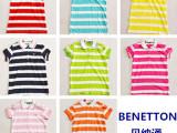 2014新款出口原单正品男童女童装短袖条纹POLO衫T恤韩版纯棉