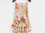 批发 夏新甜美公主花朵碎花吊带系脖收腰 超短吊带连衣裙 女D827A