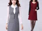 2014冬款毛呢修身韩版品牌大码无袖背心显瘦通勤呢子连衣裙女现货