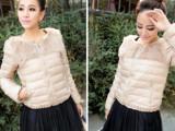 新款2013珍珠兔毛领羽绒服女短款修身薄 厂家批发