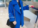 2014冬装新款欧美宽松茧型廓型加厚中长款双面羊毛大衣毛呢外套