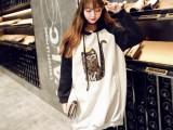 实拍 2015秋冬新款韩国时尚中长连帽卫衣裙拼色女式卫衣绒衫