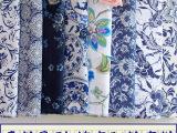 中国风蓝色印花棉麻布料 青花瓷仿蜡染窗帘桌布抱枕春夏服装面料