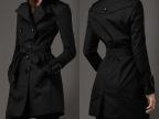 2014欧美大牌秋冬中长款女装风衣 双排扣翻领修身大衣外套 F8021