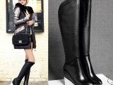 欧洲站新款马丁靴过膝长靴显瘦坡跟女靴子平底高筒靴真皮 女鞋