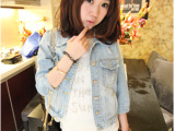 2014新款韩版 修身百搭七分袖水洗淡色牛仔 短外套