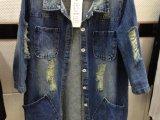 爆款主推 秋装新款七分袖牛仔外套 宽松显瘦破洞中长款牛仔风衣