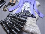 2015春装女新款欧洲站时尚裙套装欧美针织衫配连衣裙春套装裙